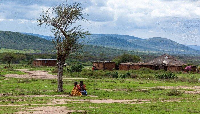 Children in open plane in Rwanda