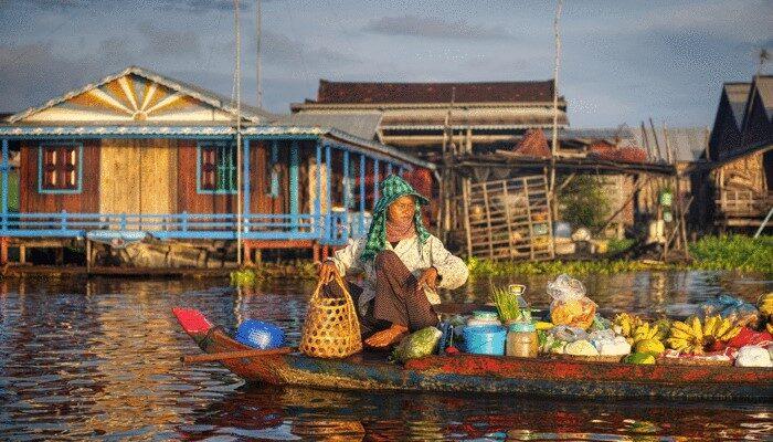 Canoe in water Cambodia