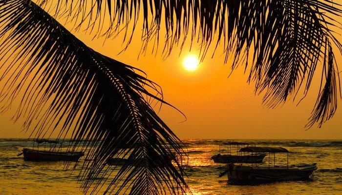 Red sunset on ocean Sri Lanka